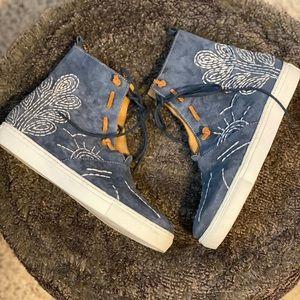 Gansvoort Leather Embroidered Slip On Fold Over